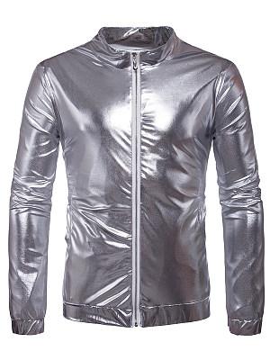 Sparkling Band Collar Pocket Plain Men Jacket фото
