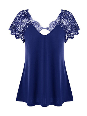 V-Neck Plain Lace Hollow Short Sleeve Plus Size T-Shirts, 4513197