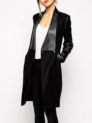 Decorative Hardware Plain Long Sleeve Coats фото