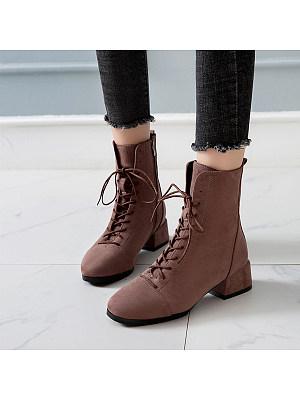 Plain Flat Velvet Point Toe Date Outdoor Flat Boots, 8533571