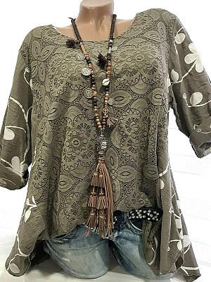 Round Neck Patchwork Elegant Lace Three-Quarter Sleeve Blouse, 8406744