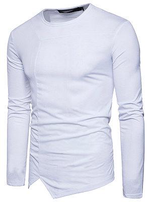 Crew Neck Asymmetric Hem Plain Men T-Shirt