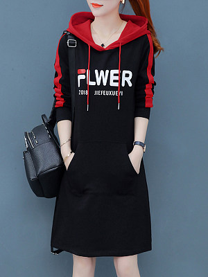 Hooded  Patch Pocket  Color Block Shift Dress