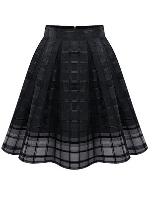 Inverted Pleat Hollow Out Plaid Plain Flared Midi Skirt, 3590524