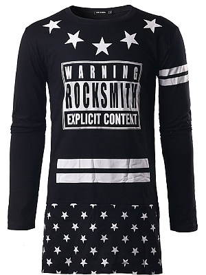 Men Round Neck Letters Star Striped T-Shirt