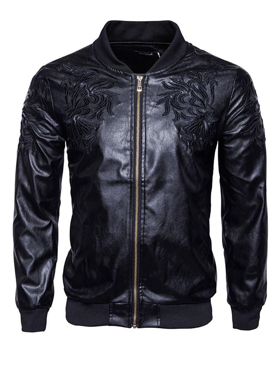 Black Embroidery PU Leather Men Jacket