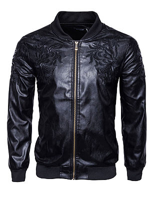 Black Embroidery PU Leather Men Jacket фото