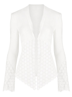 Shawl Collar Asymmetric Hem Patchwork Plain Blazer, 6443561