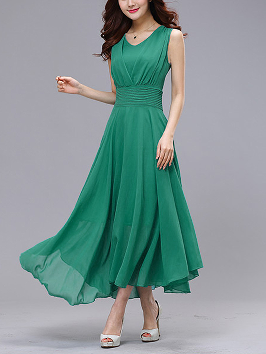 Flowing Charming V-Neck  Plain Maxi Dress
