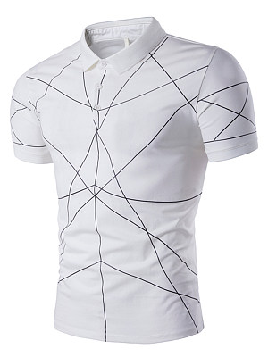 Polo Collar Men Geometric T-Shirt, 3805553