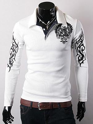 Trendy Eagle Printed Polo Collar Men T-Shirt