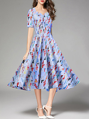 Sweet Heart Printed Fashion Maxi Dress
