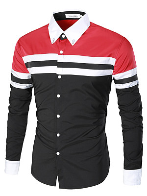 Color Block Striped Button Down Collar Men Shirts фото