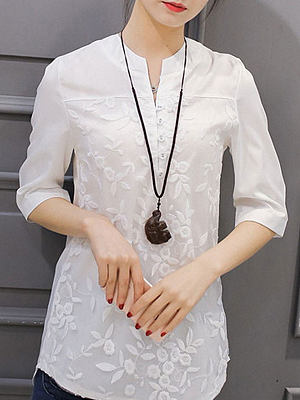 Spring Summer Cotton Women V-Neck Decorative Button Three-Quarter Sleeve Blouses, 4491162