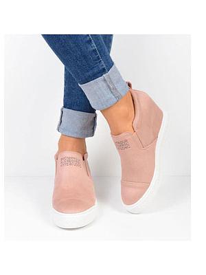 Plain Velvet Round Toe Casual Sneakers, 5366723