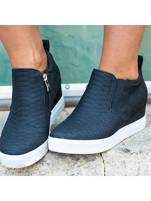 Euramerican Basic Side Zipper Wedges Heels Ankle Boots, 8366565