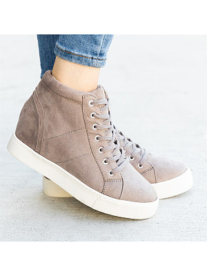 Casual Lace-Up Pure Color Wedges Heels Ankle Shoes, 8367303