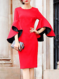 Image of Round Neck Plain Bell Sleeve Bodycon Dress