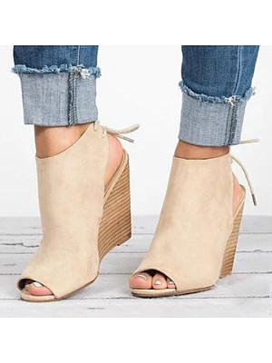 Plain High Heeled Velvet Peep Toe Date Wedge Sandals фото