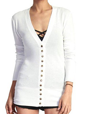 Single Breasted Plain Long Sleeve Cardigans фото