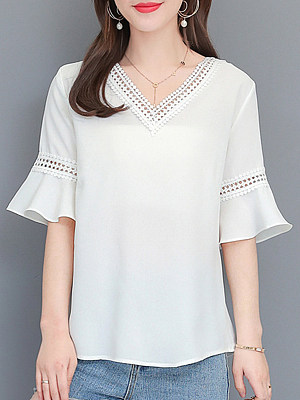 V Neck Patchwork Lace Bell Sleeve Blouses