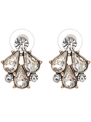 Courtly Faux Crystal Stud Earrings