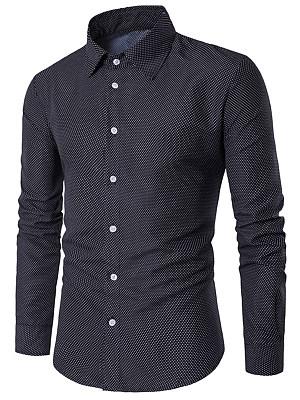 Men Tiny Polka Dot Long Sleeve Shirts
