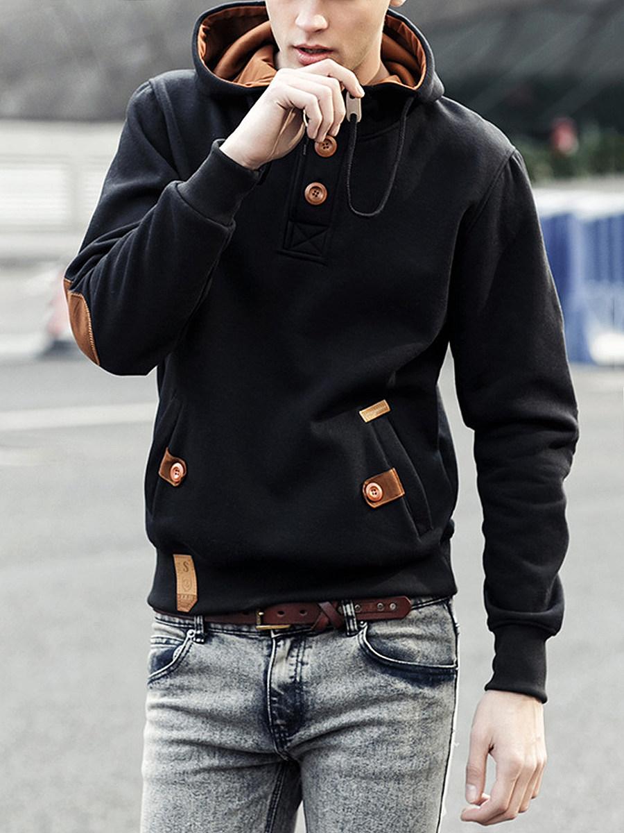 Decorative Button Pocket Men Hoodie
