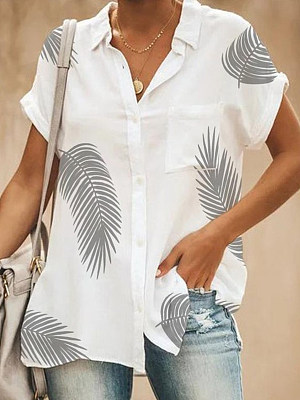Turn Down Collar Patch Pocket Printed Blouses фото