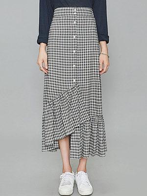 Elastic Waist Asymmetric Ruffled Hem Plaid Maxi Skirt