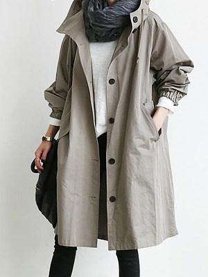 Hooded Drawstring Single Breasted Plain Long Sleeve Trench Coats