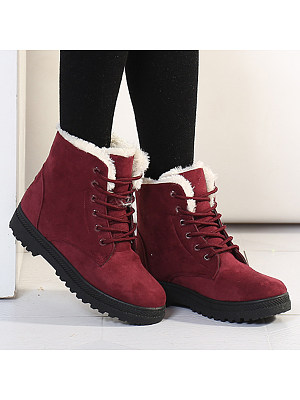 Plain Flat Velvet Criss Cross Round Toe Casual Date Outdoor Short Flat Boots, 5512636
