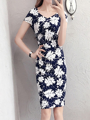 V Neck Floral Printed Bodycon Dress, 7162463