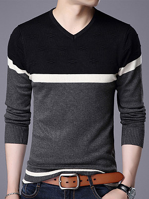 V-Neck Color Block Striped Men'S Sweater фото