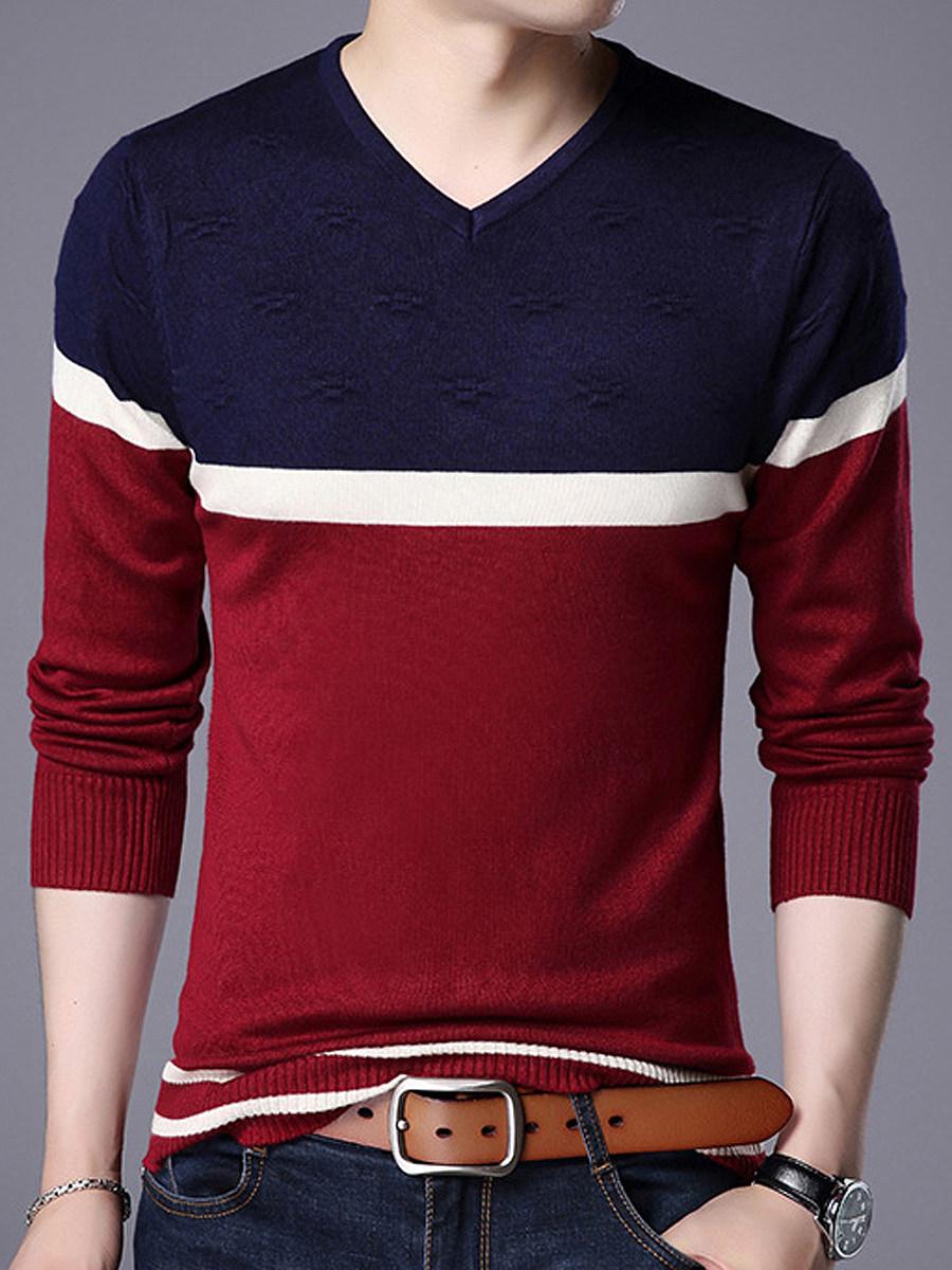 V-Neck Color Block Striped Men?ÇÖS Sweater