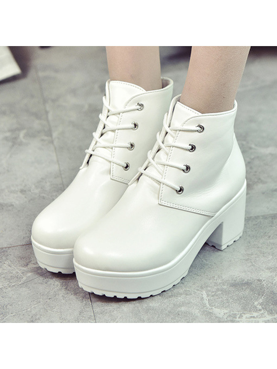 Plain  High Heeled  Criss Cross  Round Toe  Outdoor High Heels Boots