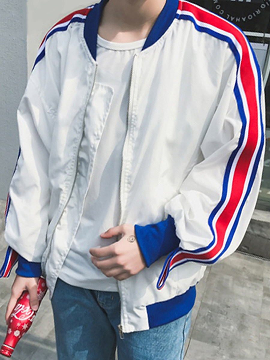 BerryLook Men Striped Band Collar Pocket Bomber Jacket