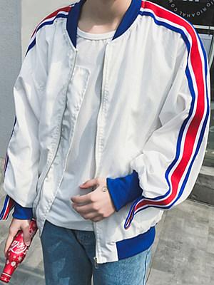 Men Striped Band Collar Pocket Bomber Jacket