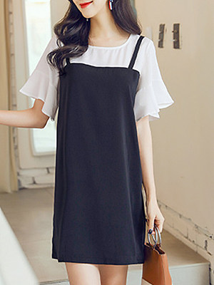 Round Neck Color Block Bell Sleeve Shift Dress