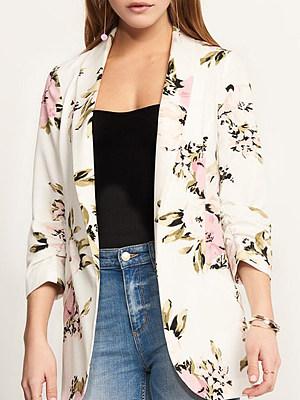 Casual Peony Print Long Sleeved Slim Coat Thin Blazer