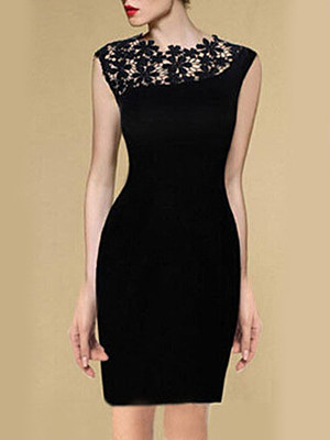 Round Neck  Embossed Design Patchwork Bodycon Dress