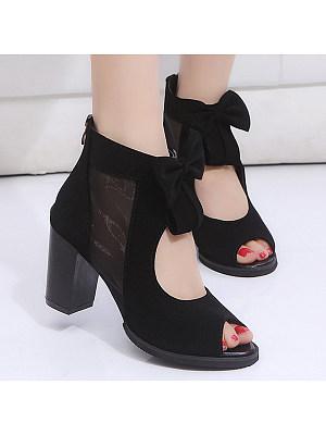Plain  Chunky  High Heeled  Velvet  Ankle Strap  Peep Toe  Date Outdoor Peep-Toe Heels