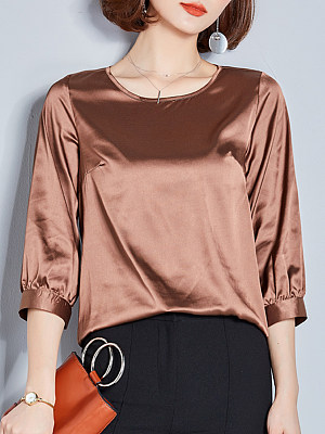 Round Neck Patchwork Elegant Plain Three-Quarter Sleeve Blouse, 8458127