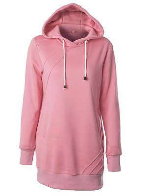 Casual Pure Colour Long Sleeve Belted Hoodies, 8385854