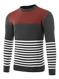 Round Neck  Color Block Striped Men'S Sweater