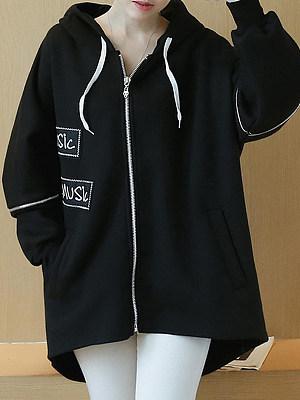 Hooded Drawstring Zips Letters Plain Long Sleeve Coats