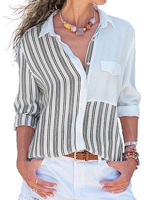 Lapel Patchwork Casual Striped Long Sleeve Blouse, 8389775