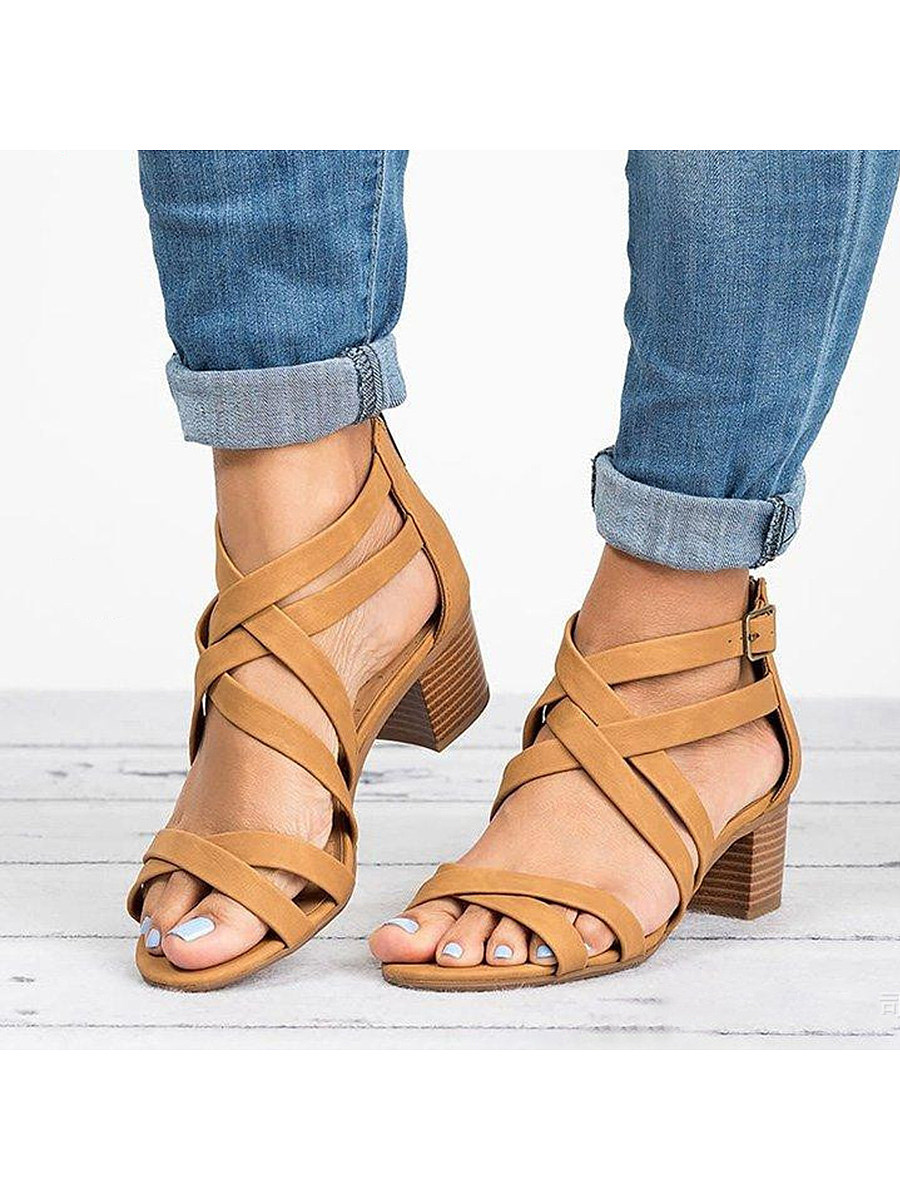 BerryLook Plain Chunky High Heeled Peep Toe Date Office  Platform Sandals