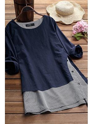 Fake Two-Piece Plaid Plain Long Sleeve Top*1 Shirts & Blouses, 8136927