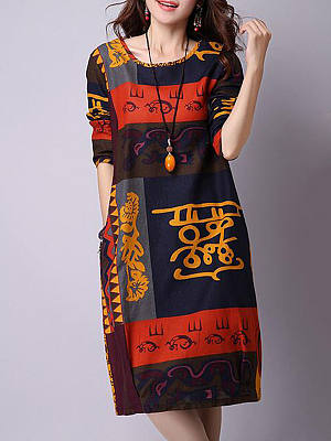 Round Neck Color Block Totem Printed Shift Dress